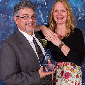Edward N. Coombs, class of 1986, is SUNY Canton's 2020 Distinguished Alumnus. He is pictured with his wife, Christine (Howard) Coombs, class of 1985, at the college's Hall of Fame induction ceremony in 2017.
