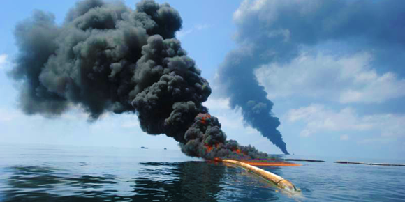 An oil spill in the Gulf of Mexico burns
