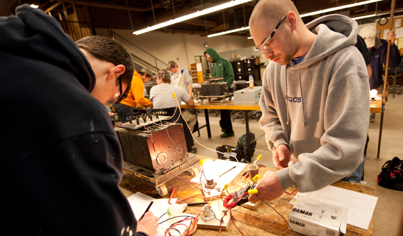 Students working on an electrical project