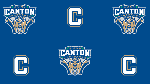 SUNY Canton Kangaroos logo repeated on blue background