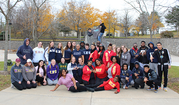SUNY Canton greeks pose together in the Roselle Plaza