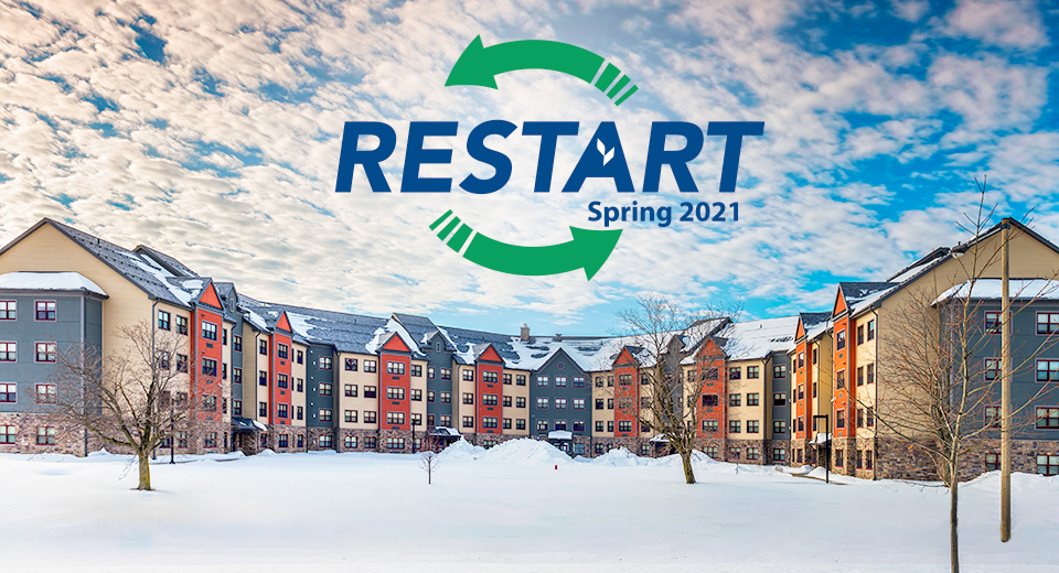 Restart Spring 2021 - Kennedy Hall in Snow.