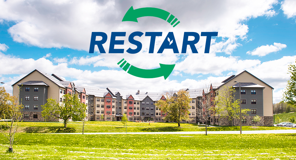 Restart logo above Kennedy Hall