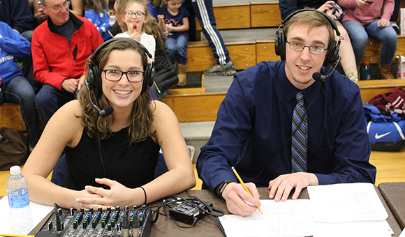 Jenea Shoemaker '17 and Matt Spencer '17 broadcast the 2017 Section X basketball championships.