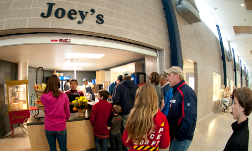 Hungry fans stand in line at Joey's