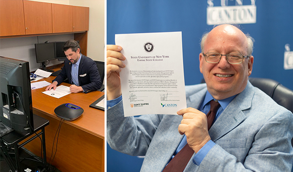 SUNY Empire President James Malatras signs the MOU, SUNY Canton President Zvi Szafran holds up the signed MOU.