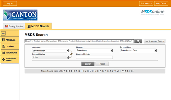 Screenshot: MSDS Search panel