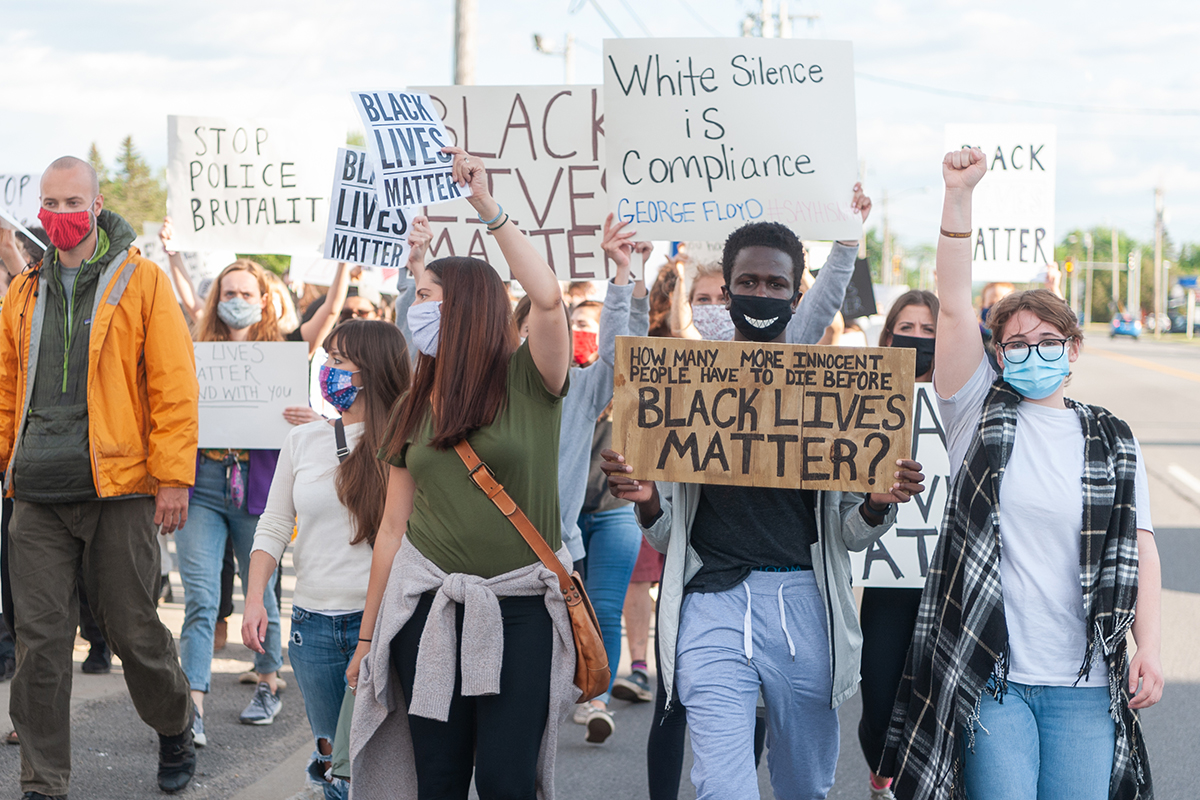 People march in support of Black Lives Matter.