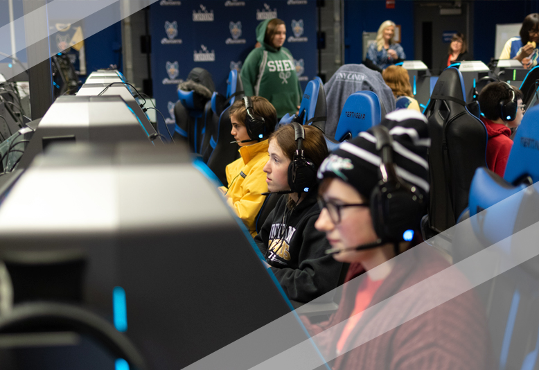 Gamers participate in the Women in Esports event.