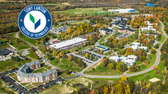 Aerial of SUNY Canton campus with circle logo