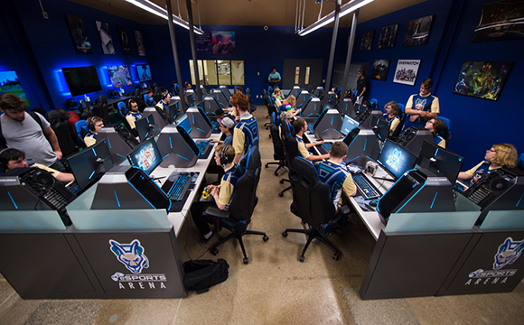 eAthletes play competive games in the new eSports Arena.
